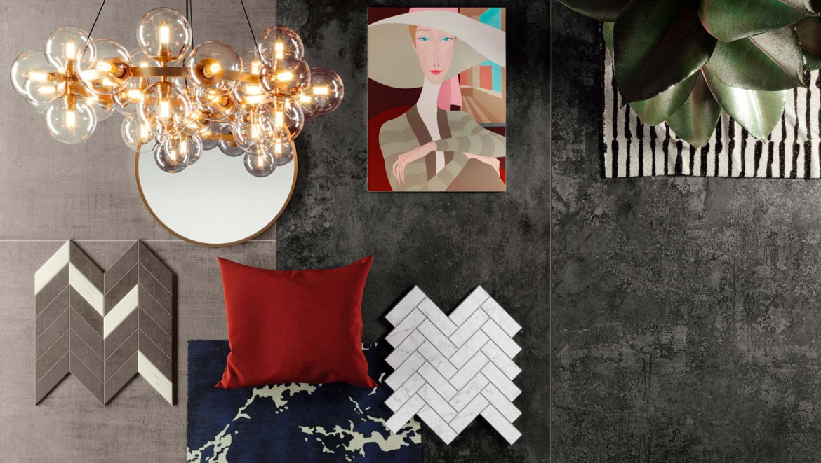 Contemporary moodboard presented by Atlas Concorde USA