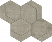 Fray Collection Metal Gray Hexmark Mosaic tile from Atlas Concorde USA - thumbnail