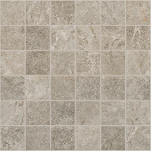 Marble and soapstone-look 2x2 square mosaic with Rooted Gray porcelain tile from Atlas Concorde USA- sample