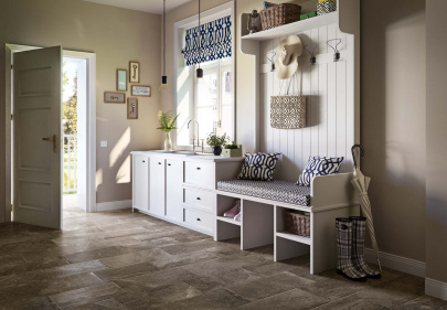 Beautiful porcelain tile mudroom with a stone look from the Atlas Concorde USA Ridge Collection