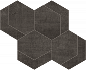 Fray Collection Black Hexmark Mosaic tile from Atlas Concorde USA - thumbnail