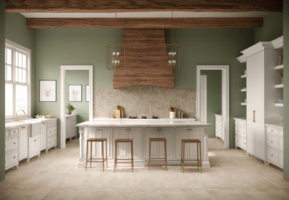 Beautiful porcelain tile kitchen with a stone look from the Atlas Concorde USA Exist Collection