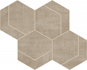 Fray Collection Taupe Hexmark Mosaic porcelain tile from Atlas Concorde USA - thumbnail
