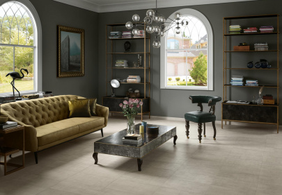 Beautiful porcelain tile living room with a fabric look from the Atlas Concorde USA Fray Collection