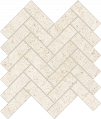 Limestone-looking Rise Dawn porcelain tile in herringbone pattern from Atlas Concorde USA- sample