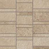 Creative aligned row mosaic look with Ridge Beige porcelain tile from Atlas Concorde USA-sample