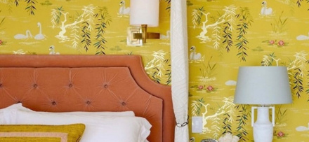 Image of yellow bedroom in the Atlas Concorde USA blog from Decorators Best