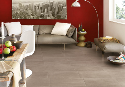 Beautiful porcelain tile living room with a cement look from the Atlas Concorde USA Get Collection