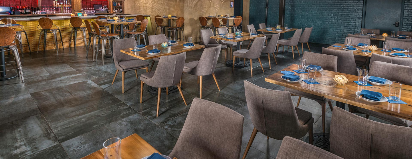 Cover image of dining room of Tansuo in Nashville featuring Forge from Atlas Concorde USA