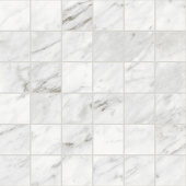 Trilogy Carrara Classic white marble-looking porcelain tile 2x2 in square mosaic from Atlas Concorde USA- sample