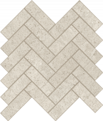 Limestone-looking Rise Cloud porcelain tile in herringbone pattern from Atlas Concorde USA- sample