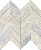 Cove Linen chalk-look porcelain tile in dart pattern from Atlas Concorde USA - sample