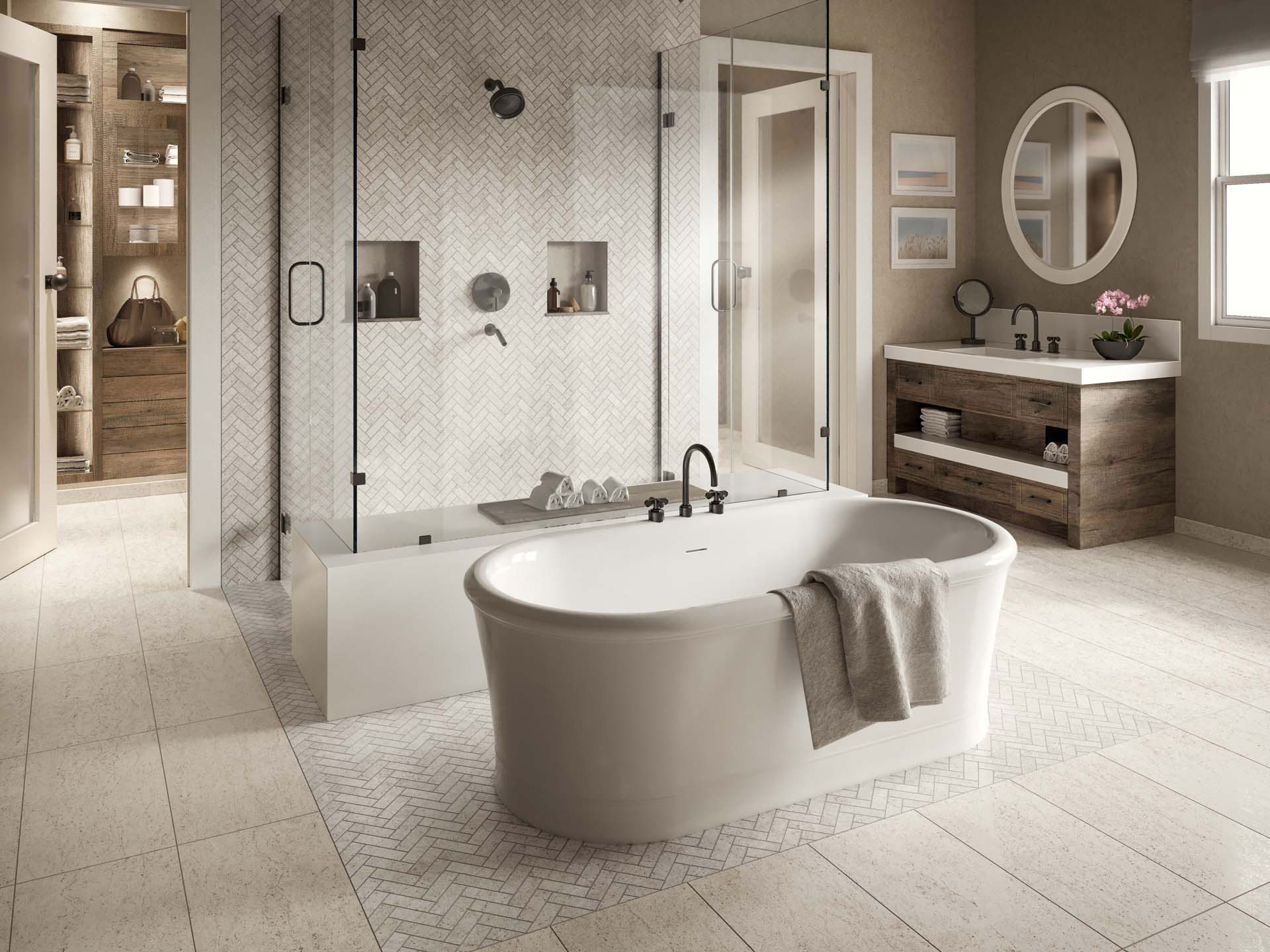 Atlas Concorde USA Rise collection used on the floor and wall of a bathroom and shower.