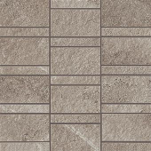 Creative aligned row mosaic look with Ridge Greige porcelain tile from Atlas Concorde USA-sample