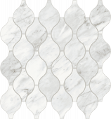 Trilogy Carrara Classic white marble-looking porcelain tile in Arabesque mosaic from Atlas Concorde USA- sample
