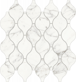 Trilogy Calcatta white marble-looking porcelain tile in Arabesque mosaic from Atlas Concorde USA- sample