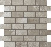 Forge Collection Aluminum metal-look porcelain tile in brick mosaic pattern from Atlas Concorde USA - sample