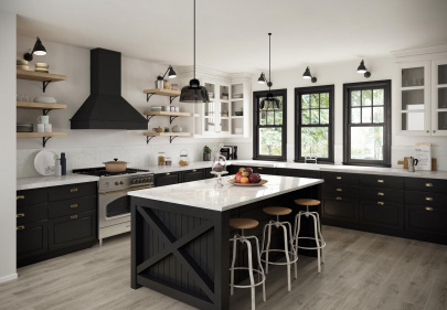 Beautiful porcelain tile kitchen with a wood look from the Atlas Concorde USA Homeland Collection