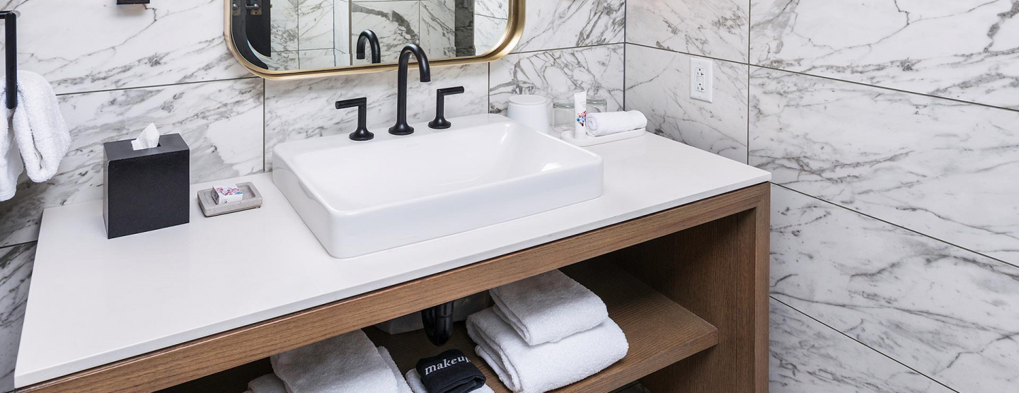 Cover image of Guest Suite Bathroom featuring Marvel Pro From Atlas Concorde