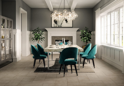 The beautiful updated look of Fray tiles in an elegant dining room setting