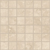 Shore Sand travertine-inspired porcelain tile in square 2x2 mosaic from Atlas Concorde USA- sample
