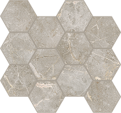 Liberty Collection Franklin Grey marble-look porcelain tile in honeycomb pattern from Atlas Concorde USA - Sample