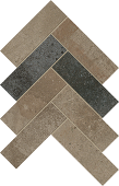 Herringbone pattern with a mix of darker Rift porcelain tiles from Atlas Concorde USA-sample