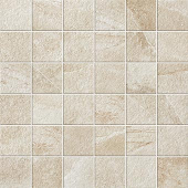 Elegant 2x2 mosaic grid-look with Ridge Ivory porcelain tile from Atlas Concorde USA-sample
