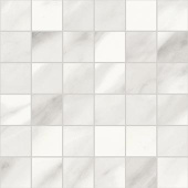 Trilogy Volakas Royal white marble-looking porcelain tile in 2x2 square mosaic from Atlas Concorde USA- sample