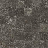 Marble and soapstone-look 2x2 square mosaic with Rooted Anthracite porcelain tile from Atlas Concorde USA- sample