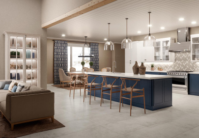 Beautiful porcelain tile kitchen with a chalk look from the Atlas Concorde USA Cove Collection
