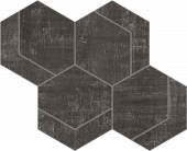 Fray Collection Metal Black Hexmark Mosaic tile from Atlas Concorde USA - thumbnail