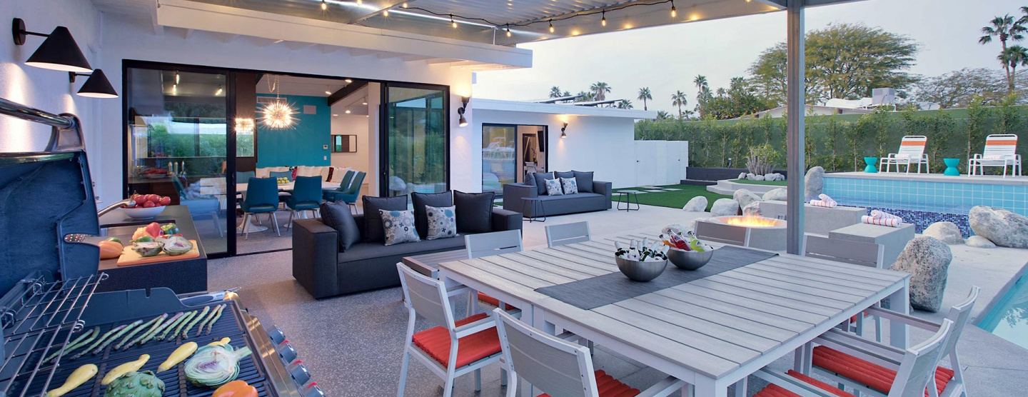 Cover photo of Outdoor patio of Palm Springs vacation home featuring Marvel Gems Terrazzo by Atlas Concorde
