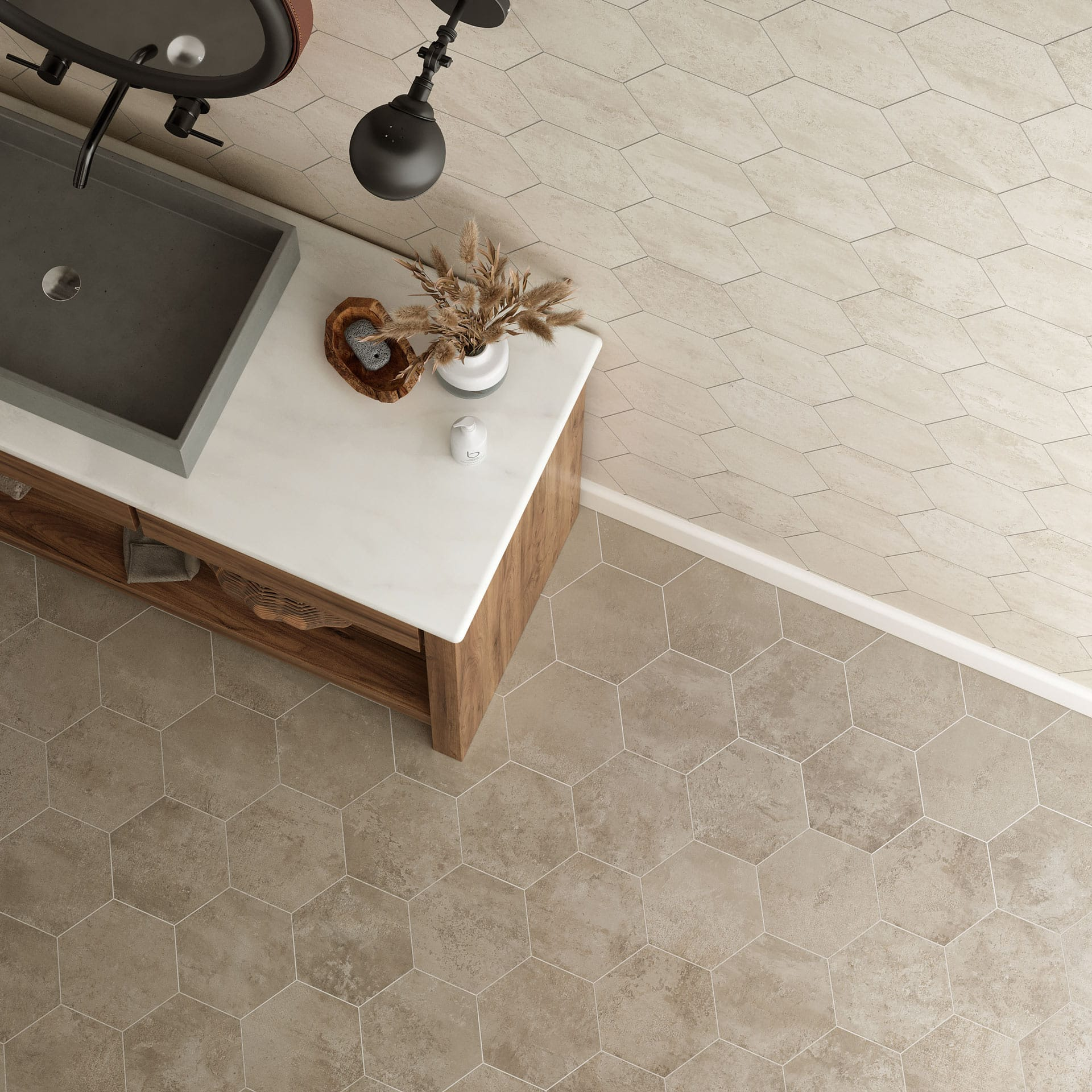 Atlas Concorde USA Exist Pure and Exist Fog hexagon tiles paired together on the floor and wall.