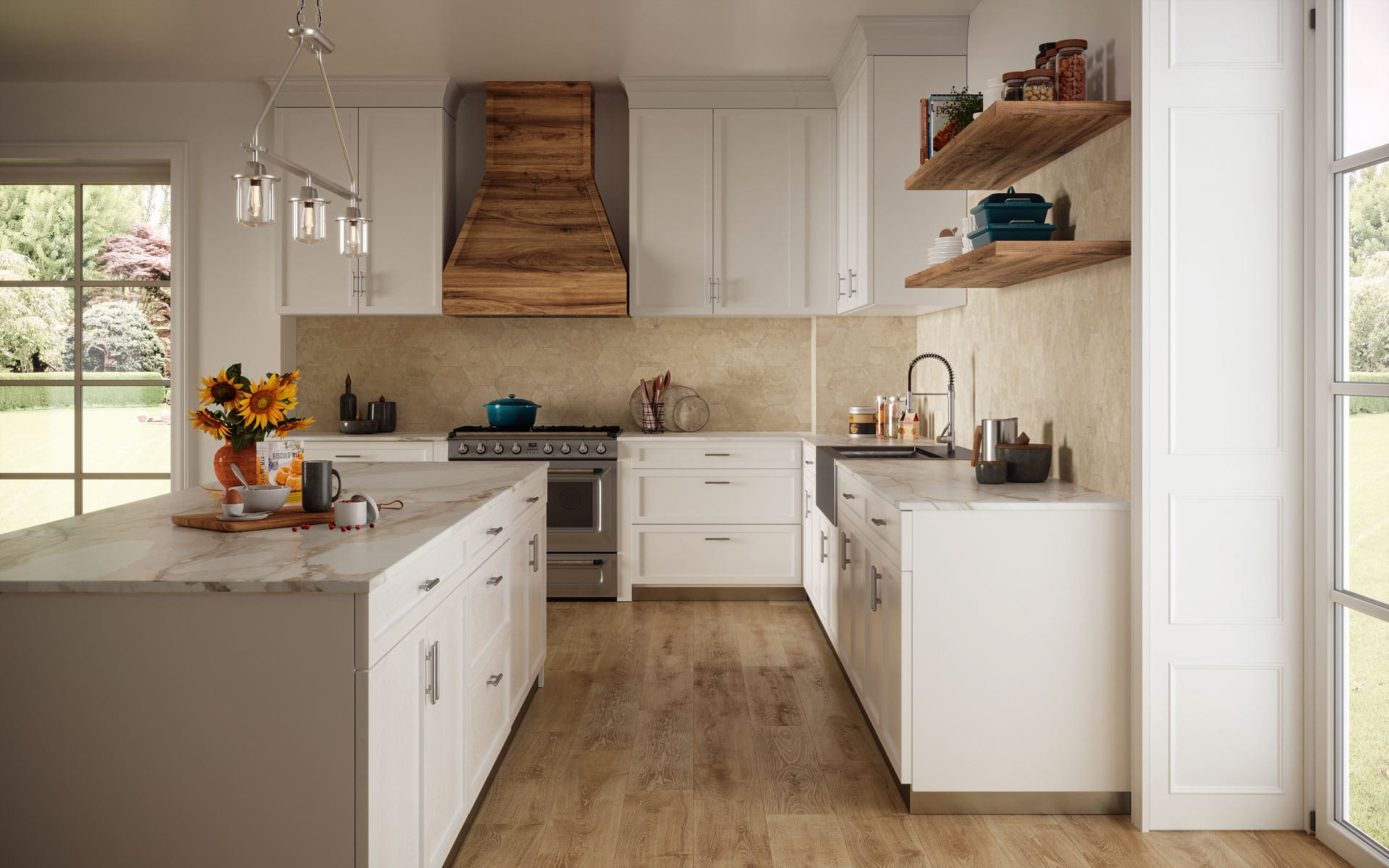 Atlas Concorde USA Exist Calm hexagon tiles deliver a creative wall and back splash in this kitchen.